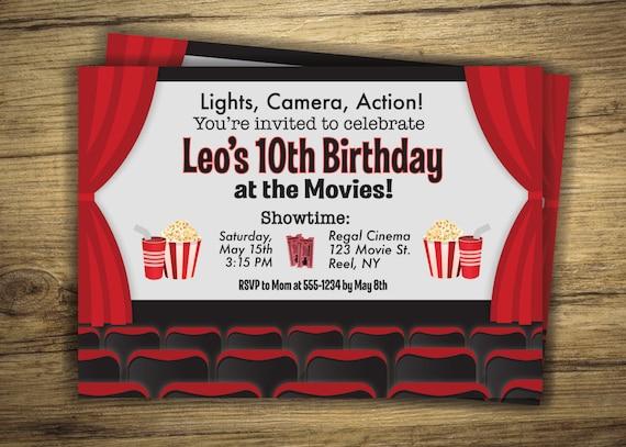 Movie Birthday Party Invitation Cinema Movie Theater Etsy