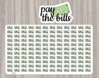 Pay the Bills Planner Stickers - Erin Condren, Kikki K, Filofax, Plum Paper, Limelife, Pastel Stickers, Money, Bill Due, Bills, Finance