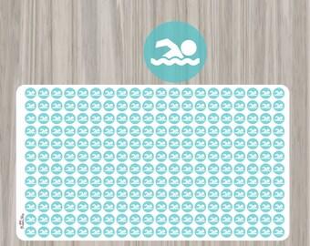 Mini Swimming Planner Stickers - Erin Condren, Kikki K, Filofax, Plum Paper, Limelife, Happy Planner, Lily, Swim, Lesson, Practice, Water