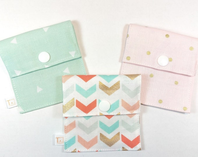 Tubie Pockets® Set of 3 Mint/Gold/Peach NG Tube Moveable Storage Pockets