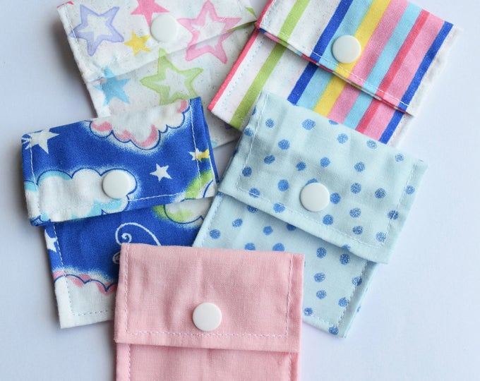 Tubie Pockets® Set of 5 Assorted Patterns NG and NJ Tube Moveable Pockets for Storage When Not In Use