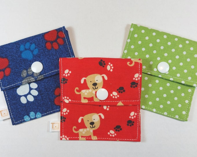 Tubie Pockets® Set of 3 Puppy Paws NG and NJ Tube Moveable Storage Pockets