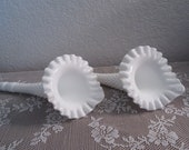 Vintage Fenton Hobnail Epergne White Milk Glass Flower Piece - 2