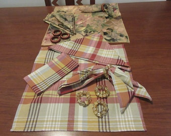 Vintage Table Napkins with Napkin Rings - 2 Sets