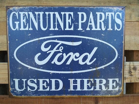 Vintage Replica Tin Metal Sign Ford Genuine Parts V8 shop home man cave decor