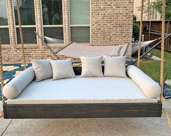 """Sunbrella Custom Daybed Cushion - Queen Bed Size - Porch Decor - Porch Swing / Glider / Swing Bed - Outdoor Fabric - 80"""" x 60"""" x 4"""" Cover"""