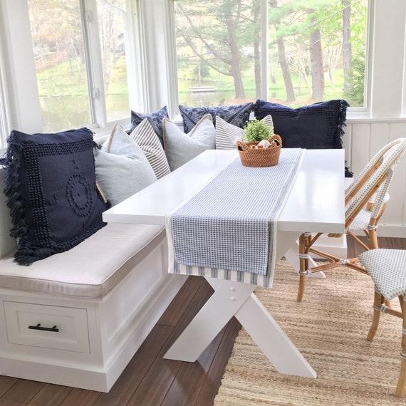 Sunbrella Custom Breakfast Nook Cushions - Dining Table / Window Seat /  Bench - L-Shaped Indoor / Outdoor Fabric - 5\' Wide / 4\
