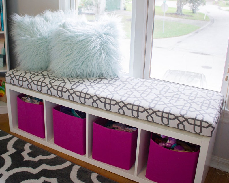 Indoor  Outdoor Fabric 3/' Wide  4 Thick Window Seat  Mudroom  Banquette Storage Bench Cushion Sunbrella Custom Cushion Cover