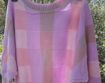 Pink/Purple Square Pattern Knit Loose Fit Top