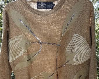 Angora Blend Beige Sweater with Silk Textured Pattern