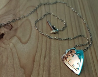 pendant necklace heavy chain silver necklace hand made toggle clasp mans necklace enamel on .999 fine silver necklace woman necklace