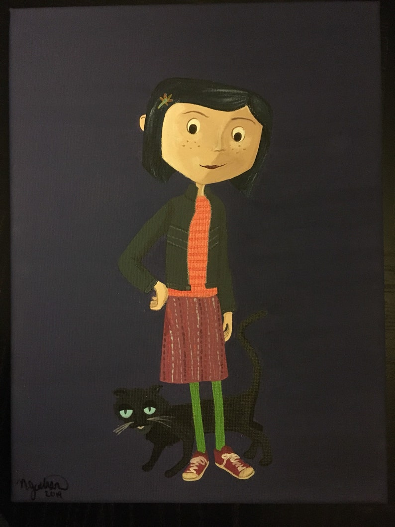 Coraline And Cat Painting Etsy