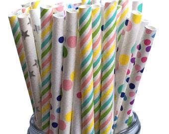 Paper Straws, Unicorn Straws, Party Decoration, Pastel Paper Straws, Assorted Paper Straws, Party Straws, Birthday Party, Sipping Straws, 25