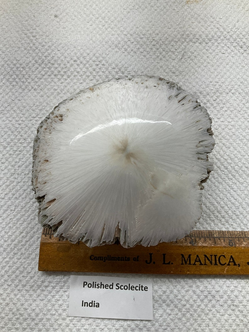 Polished Scoelcite from India mineral specimen metaphysical