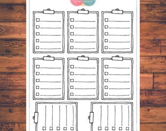 BUJO Clipboard Checklists Planner Stickers, Bullet Journal, Doodle Planner Stickers (B024)