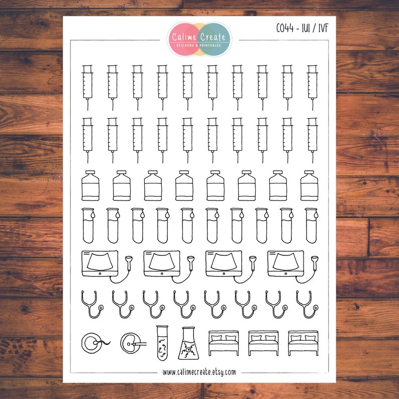 IUI / IVF Fertility Planner Stickers Doodle Planner image 0