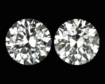 45967393f 1.5Ct Excellent Cut Natural Diamond Stud Earrings 5.7M Round Brilliant 1.5  Carat Loose Matching Pair (11602)