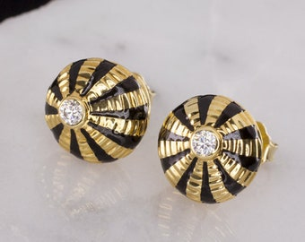 d766dbb32 Tiffany & Co Schlumberger Vintage G Vs1 Diamond Earrings 18K Gold Black  Enamel Studs Ripple Water Droplet (11580)