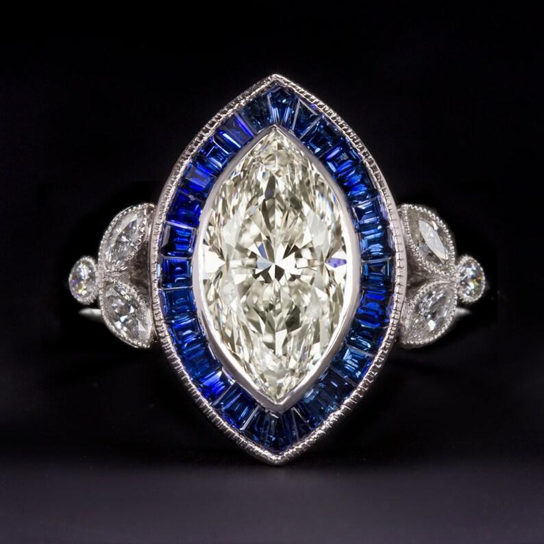 Vintage Art Deco Antique Engagement Wedding Ring 2.59 Ct Diamond 14k White Gold