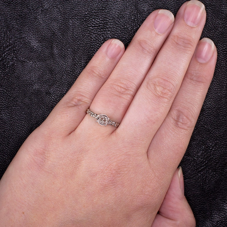 12592 14K White Gold 6mm Solitaire Engagement Ring Setting Twist Vine Braid Semi Mount Round Cut Botanical Nature