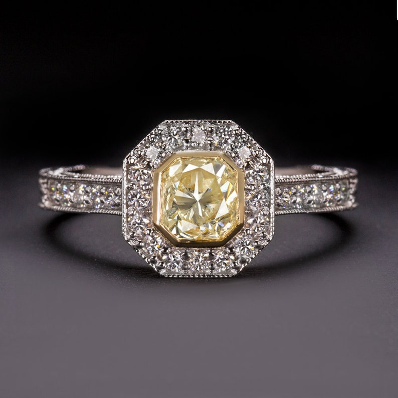 fb8a4dcaca229 Fancy Light Yellow Diamond 1Ct Engagement Ring Vintage Radiant Cut Halo 1  Carat Antique Style Pave Band (12150)