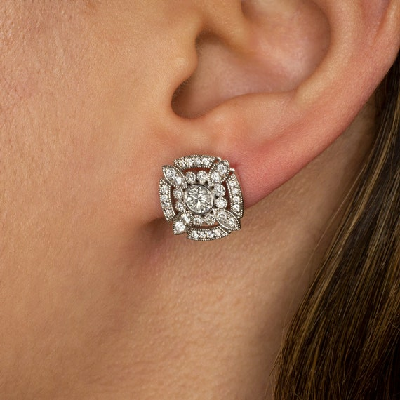 14K Yellow Gold 0.90Ct Pave Created Diamond Pushback Square Stud Earrings 10mm