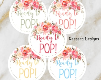 Ready To POP Shes Gonna Baby Shower Sticker Labels Favors