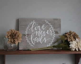 Love Never Fails Plaque