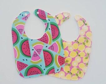Baby Girl Bibs- baby drool bibs, lemons and watermelon, summer baby, adjustable baby bibs, baby shower gift for girls, baby accessories