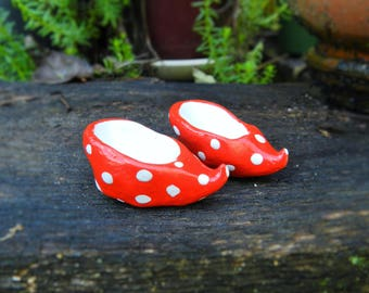 SALE gnome shoes red polka dot cute tiny shoes