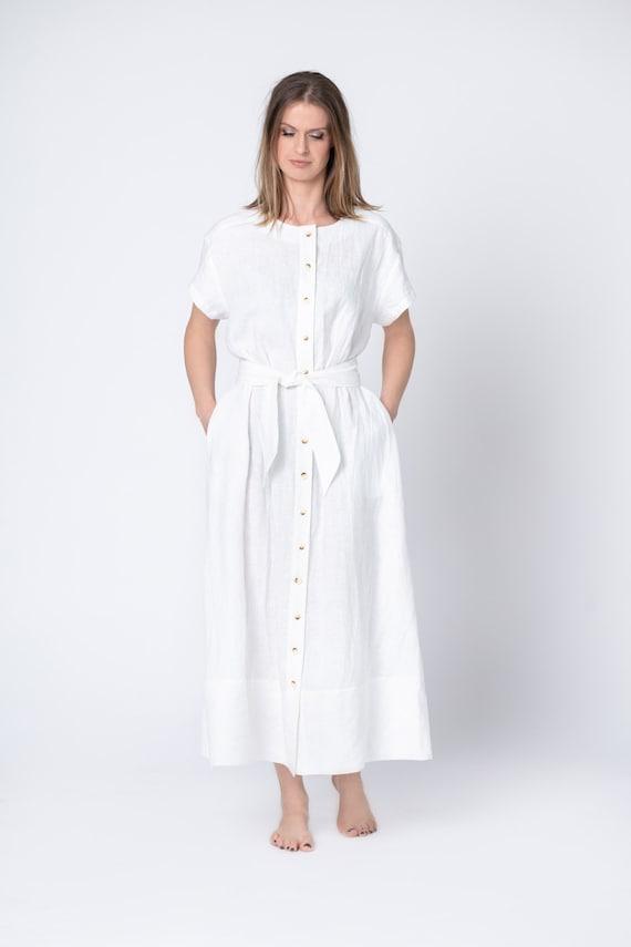 Linen maxi shirtwaist button front dress with pockets, long kimono dress