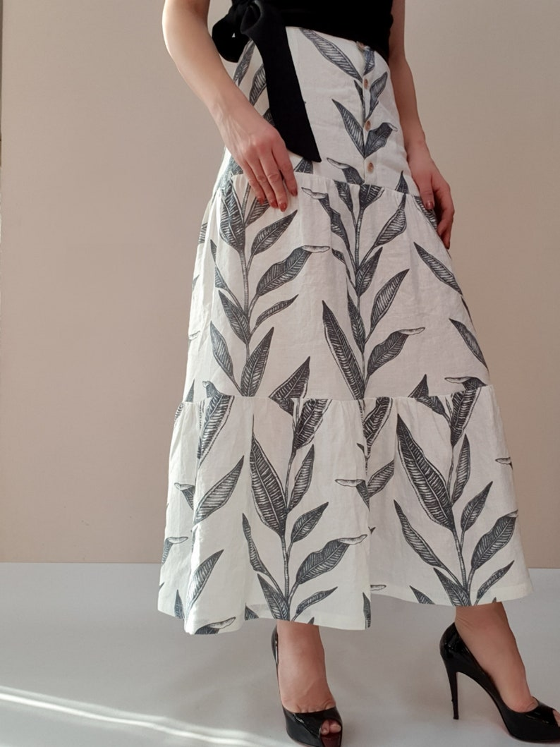 Prairie floral maxi linen skirt