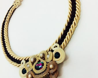 Necklace beige and black jewelry women's every day