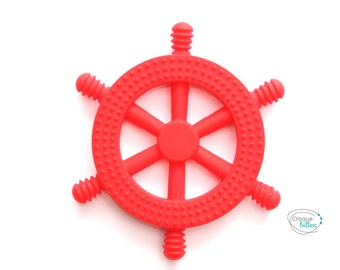 Teething toy, silicone toy, rudder silicone teething - red toy supplies