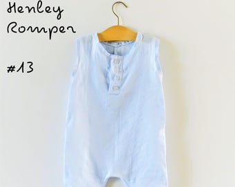 PDF Pattern - Henley Romper - Babies/Toddlers - Sizes Premie to 5/6T - Instant Download - Easy Photo Tutorial