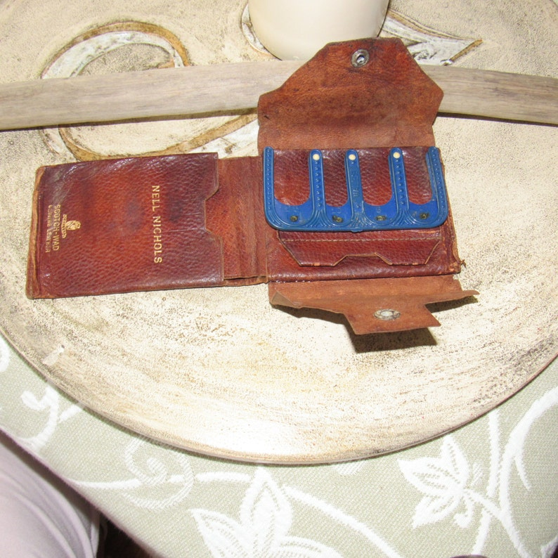 Antique Coin Holder Vintage Billfold Wales Scotch-Wad Genuine Leather Coin Purse Monogrammed  Wallet Great Stage Prop