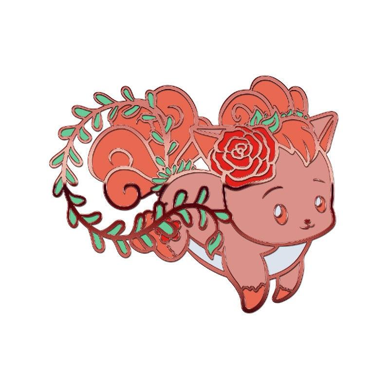 Rose Fox Hard Enamel Pin Fantasy Pin Animal Pin Fox Jewelry Kawaii Pin Fox Pin Fox Enamel Pin Enamel Jewelry Anime Enamel pin
