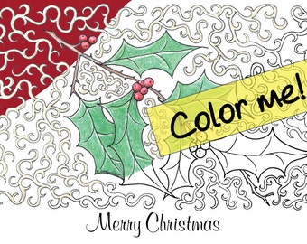 Customizable Christmas Holly Holiday Greeting Card to Color Instant Download