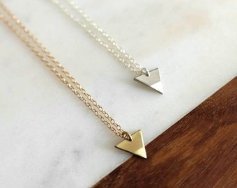 Small Triangle Necklace / Down - Delicate Gold or Silver Necklace, Geometric, Layering Necklace, Short, Gifts for Her