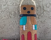 Hopi katsina doll, Hopi kachina doll, cricket katsina, Peter H Shelton, flat katsina doll, flat kachina doll,