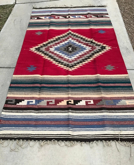 Zapotec Mexican Rug Wool Woven Rug Red Rug Large Rug 9.75