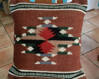 Mexican Zapotec woven wool pillow, diamond design, brown