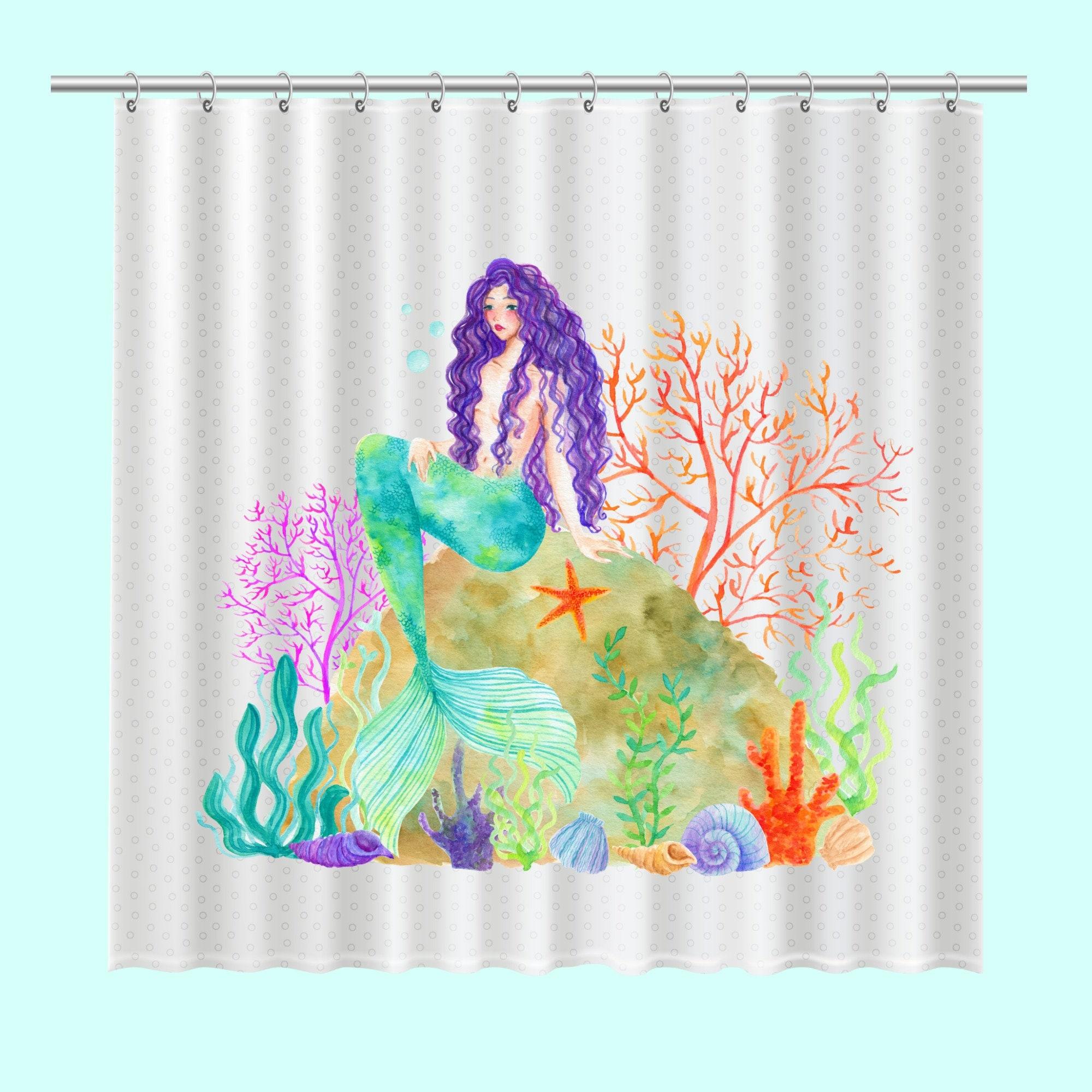 Shower Curtain Beach Decor Mermaid And Coral Mermaid
