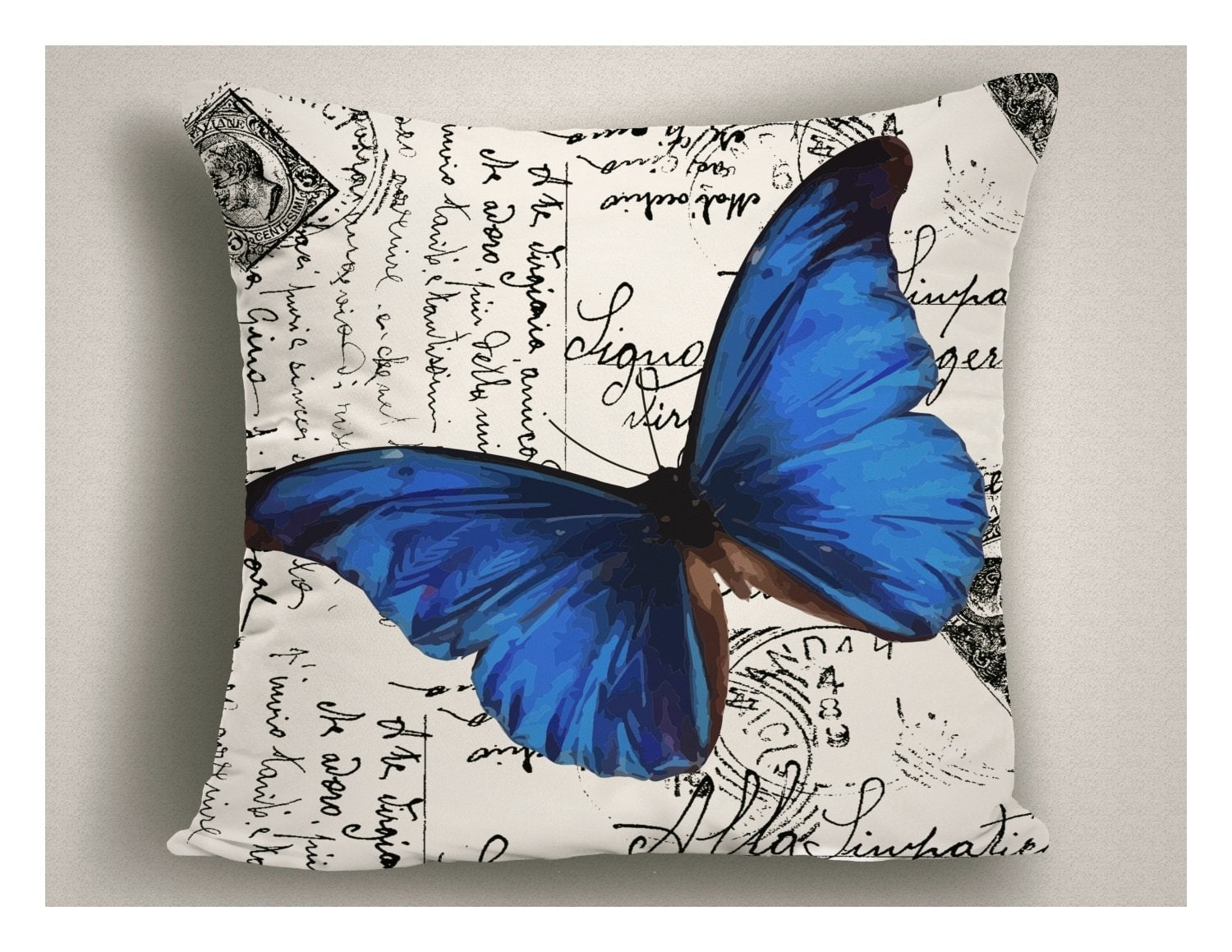 Unique Outdoor Pillow Script Writing Blue Butterfly, Patio Pillow Cover,  Outdoor Pillows With Sayings, Decorative Outdoor Pillow Cushion