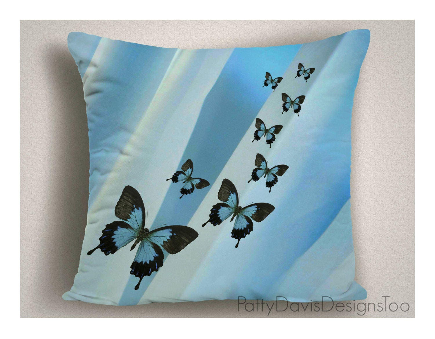 Blue Outdoor Throw Pillows Patio Pillows With Butterflies Large