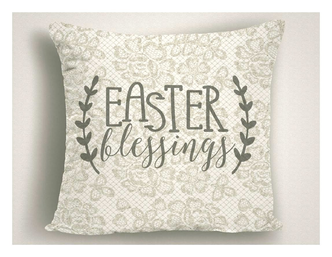 Easter Accent Pillow Lace Easter Blessings Vintage Look