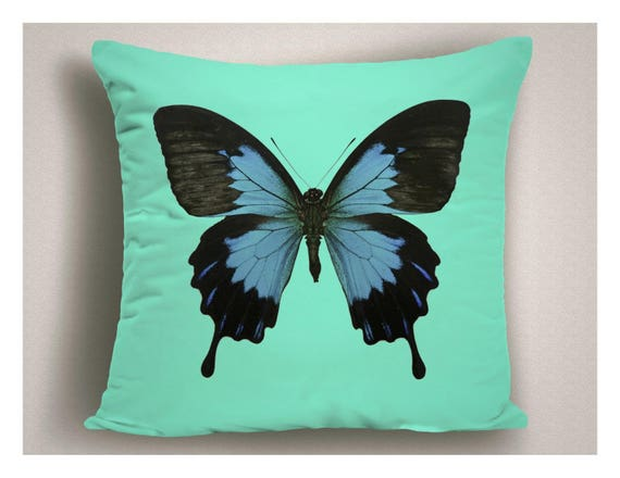 Blue Outdoor Pillows With Butterfly Patio Pillow Cover | Etsy