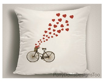 Valentine Pillows, Love Pillows, Gift for Bicycle Lovers, Valentine Pillow for Bicycle Lovers