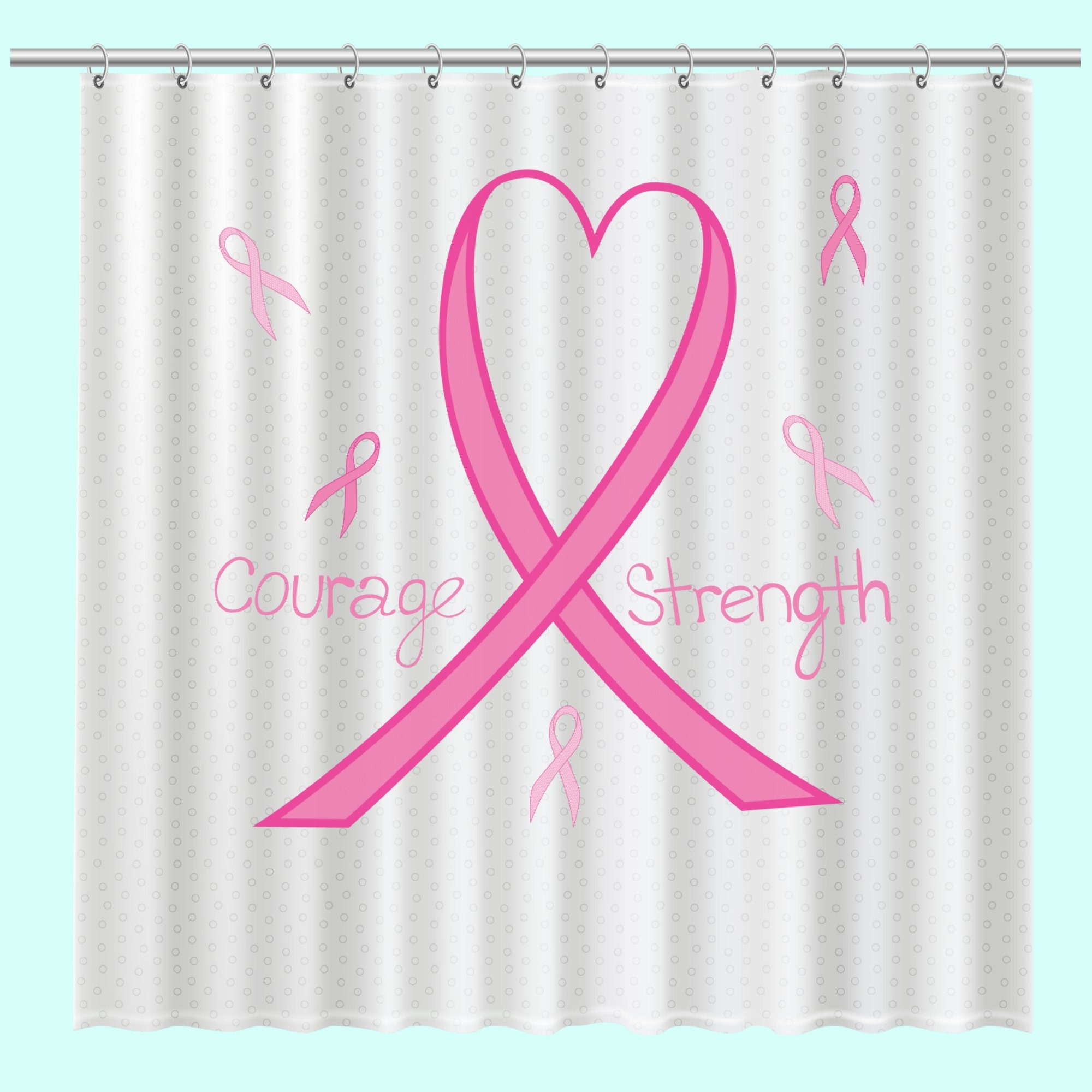 Breast Cancer Awareness Shower Curtain Unique Support Bath Pink Ribbon With Liner 71 X 74 Free Shipping