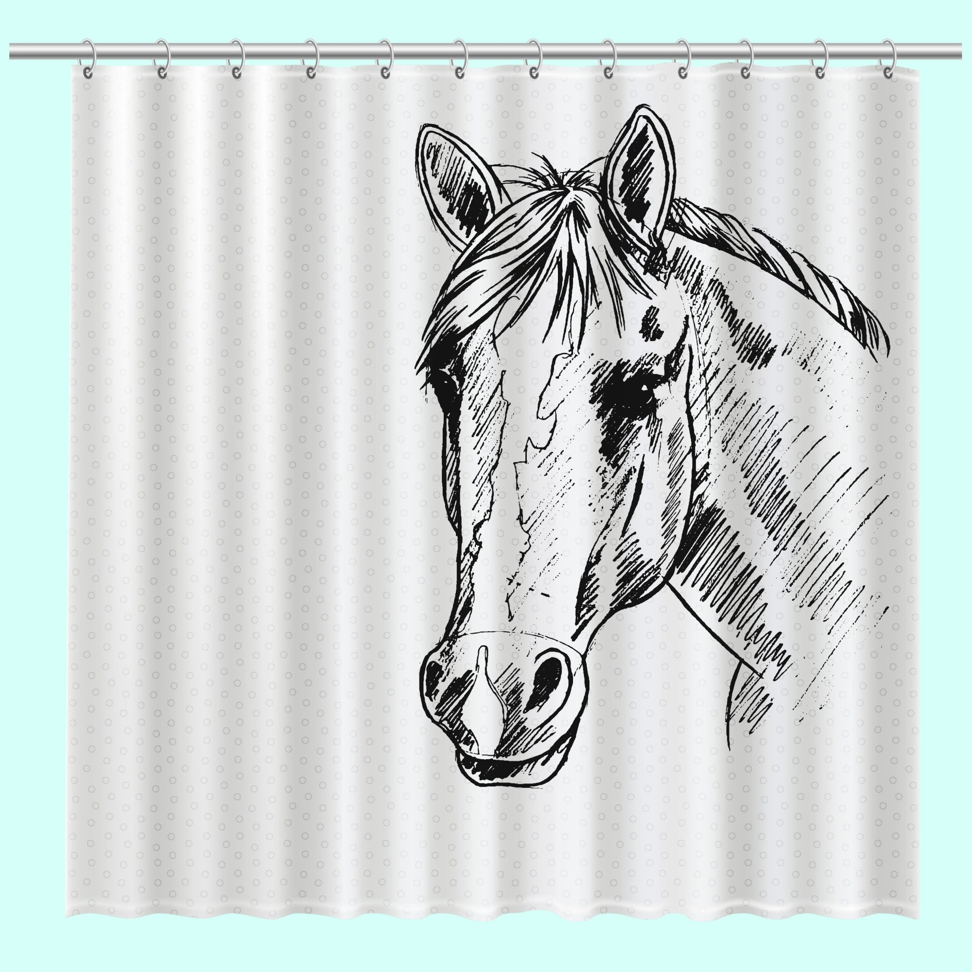 Horse Shower Curtain Bath Decor Lover Gift Home 71 X 74 Free Shipping Unique